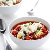 Lasagna Soup! Warm up with a bowl of classic lasagna soup, including the best Italian flavors mixed with tender pasta, tomatoes, ground beef, and ricotta cheese topping.   HomemadeHooplah.com