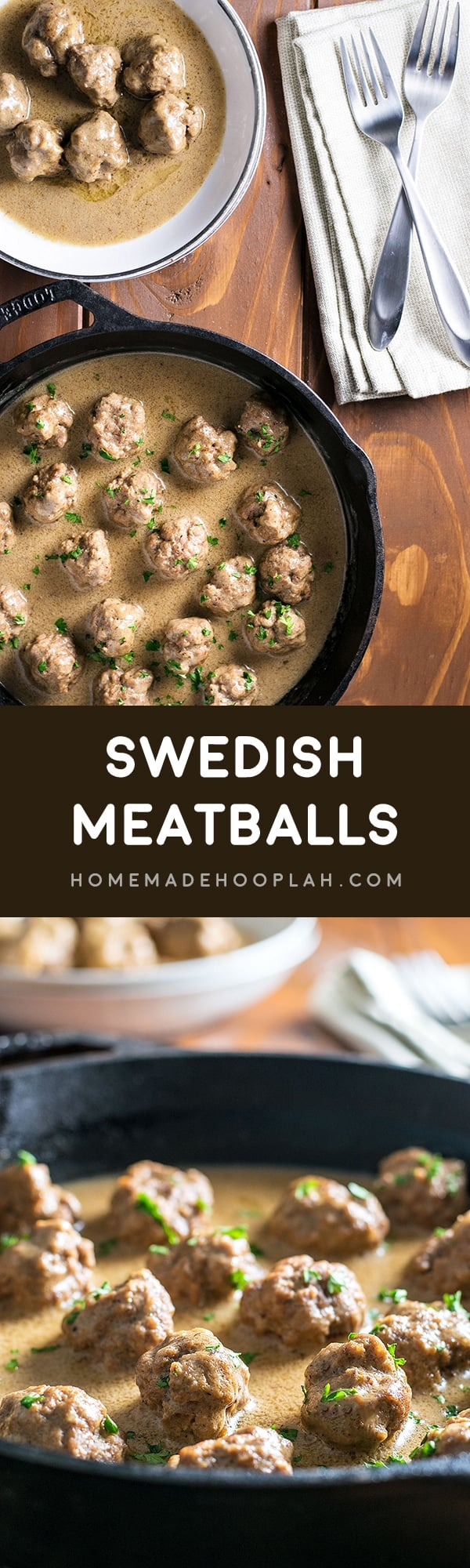 Swedish Meatballs! Pan fried meatballs cooked in a creamy and savory sauce. If you like IKEA's Swedish meatballs, now you can make them at home! | HomemadeHooplah.com