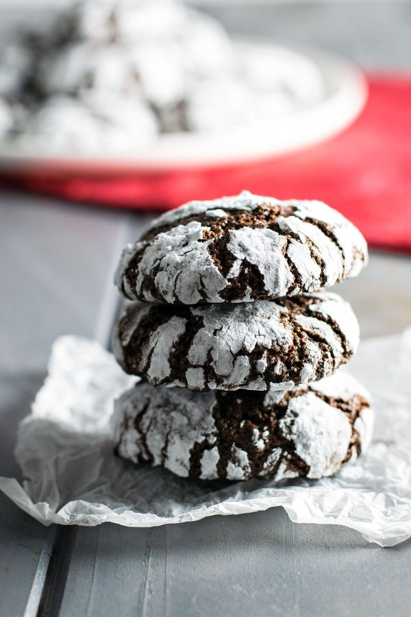 Classic Chocolate Crinkle Cookies! Light, flavorful, and crumbly chocolate crinkle cookies - they're the perfect combination of a brownie and a cookie! | HomemadeHooplah.com