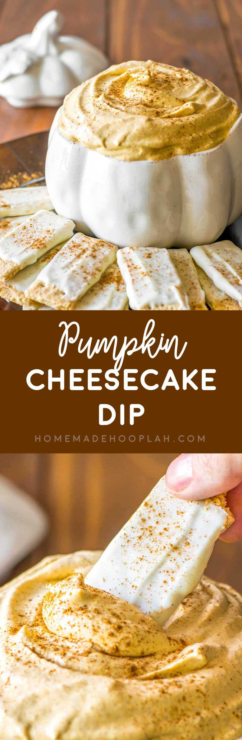 Pumpkin Cheesecake Dip! Appease your pumpkin cravings with this delicious pumpkin cheesecake dip, complete with white chocolate covered graham crackers. | HomemadeHooplah.com