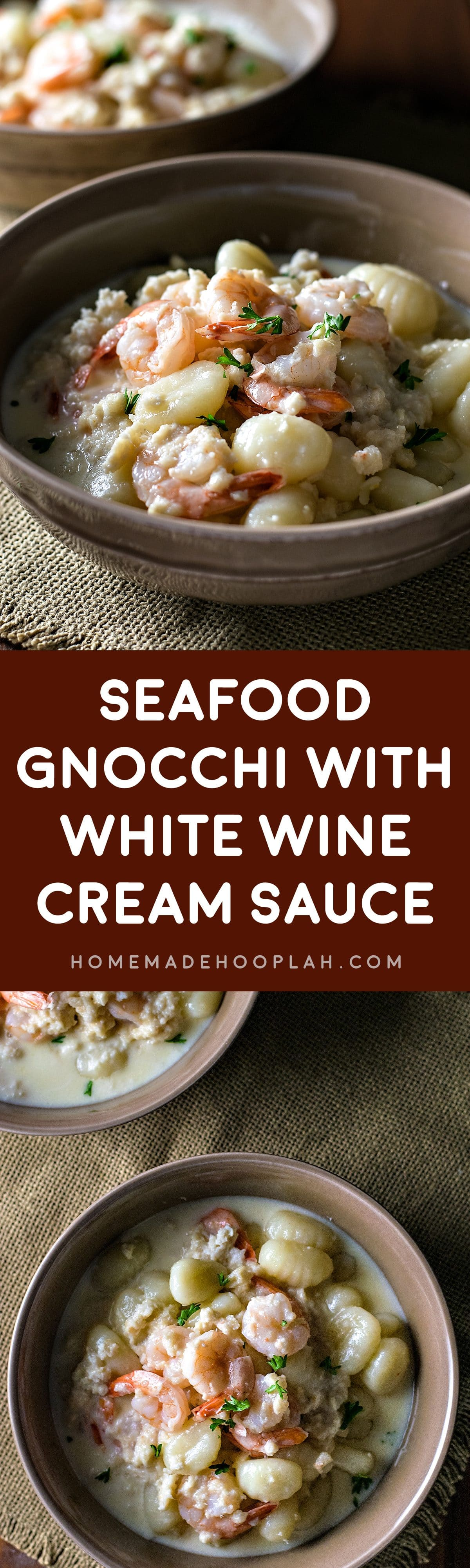 Seafood Gnocchi with White Wine Cream Sauce! Tender gnocchi, succulent shrimp, and rich crab meat all served in a creamy white wine sauce make this an easy and extremely flavorful dinner! | HomemadeHooplah.com