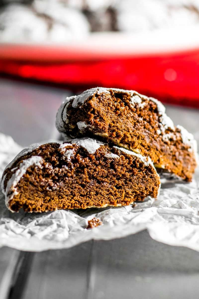 Chewy chocolate crinkle cookies.