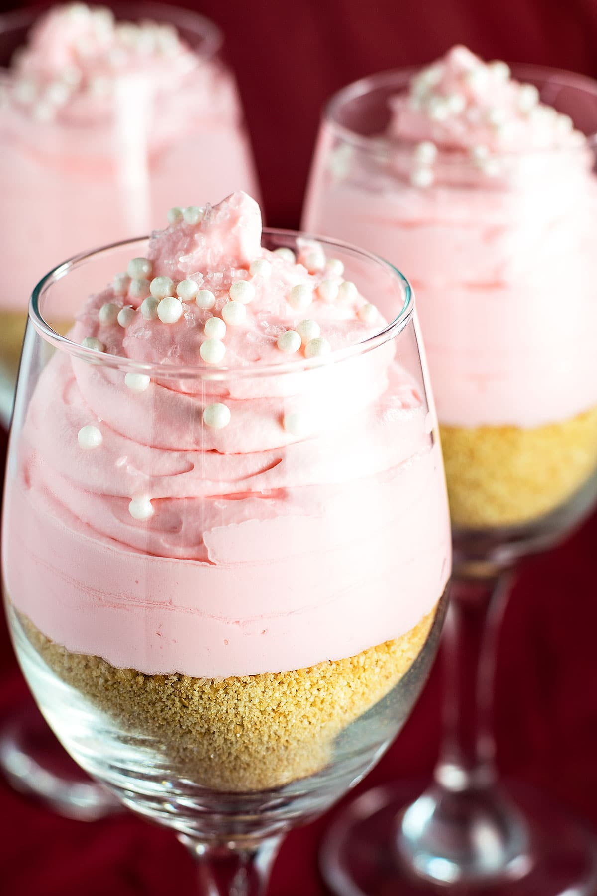 No Bake Pink Lemonade Cheesecake Parfaits