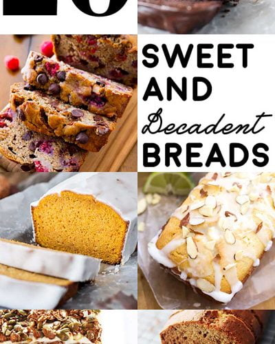 20 Sweet and Decadent Breads! Whether it's for breakfast, lunch, or dinner, these sweet and decadent dessert breads are the perfect fix to your cravings!   HomemadeHooplah.com