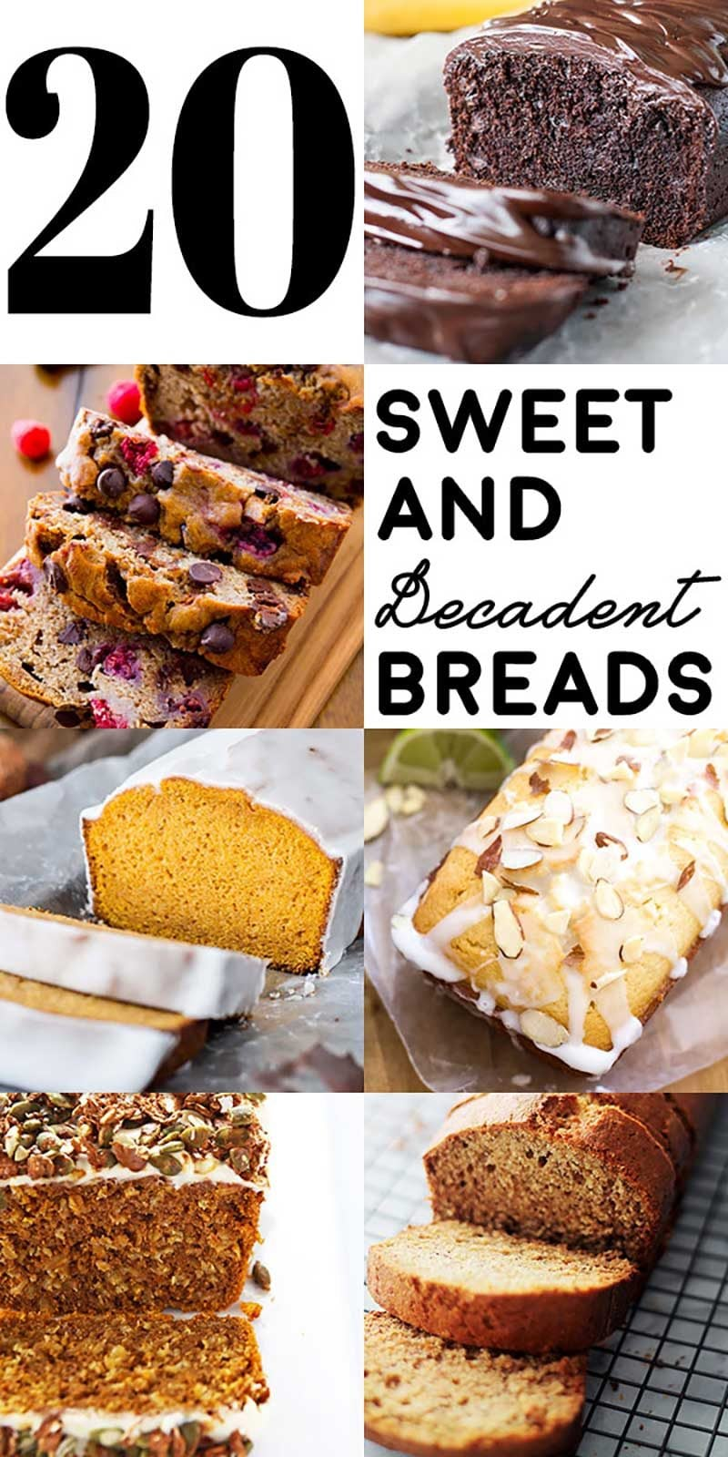 20 Sweet and Decadent Breads! Whether it's for breakfast, lunch, or dinner, these sweet and decadent dessert breads are the perfect fix to your cravings! | HomemadeHooplah.com
