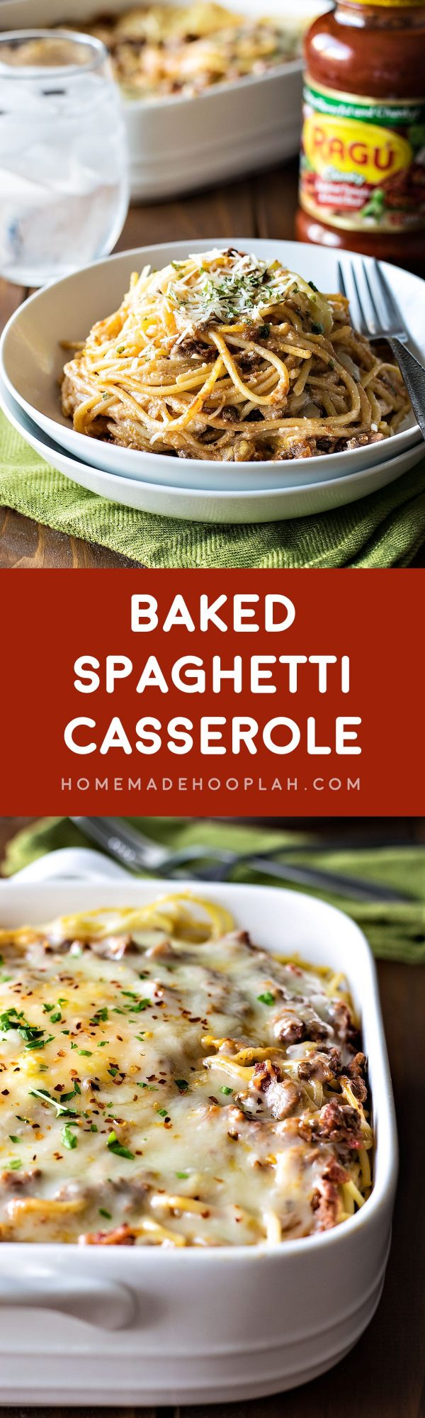 Baked Spaghetti Casserole! Revamp your boring spaghetti by baking it in a deep dish filled with delicious cheeses, savory meats, and Ragú sauce.   HomemadeHooplah.com #simmeredintradition #AD