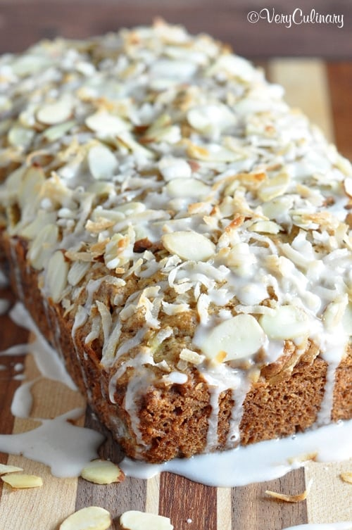 Coconut-Almond Banana Bread from Very Culinary | 20 Sweet and Decadent Breads! Whether it's for breakfast, lunch, or dinner, these sweet and decadent dessert breads are just what you need! | HomemadeHooplah.com