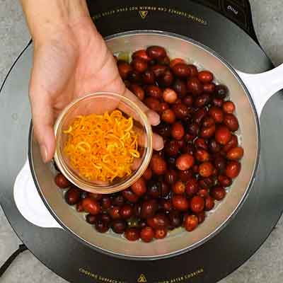 Cranberry Sauce Step 1- Add orange zest.