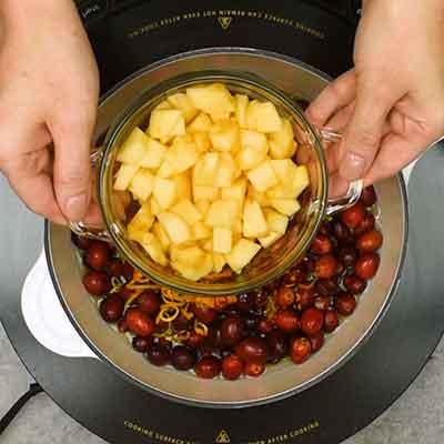 Cranberry Sauce Step 1- Add a diced apple.