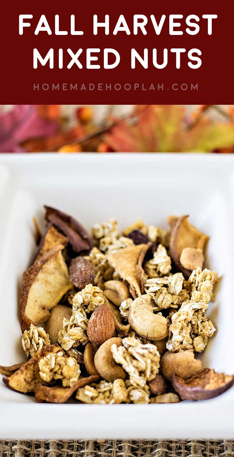 Fall Harvest Mixed Nuts! A (perfectly simple!) holiday snack for gifting or entertaining guests: dried fall fruits, granola, and Planters Mixed Nuts. #PlantersHoliday #CleverGirls AD | HomemadeHooplah.com