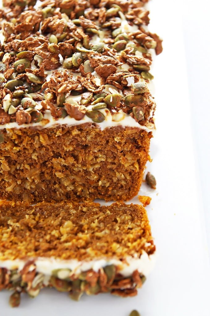 Pumpkin Oat Loaf With Pepita Praline Crunch from LeelaLicious | 20 Sweet and Decadent Breads! Whether it's for breakfast, lunch, or dinner, these sweet and decadent dessert breads are just what you need! | HomemadeHooplah.com