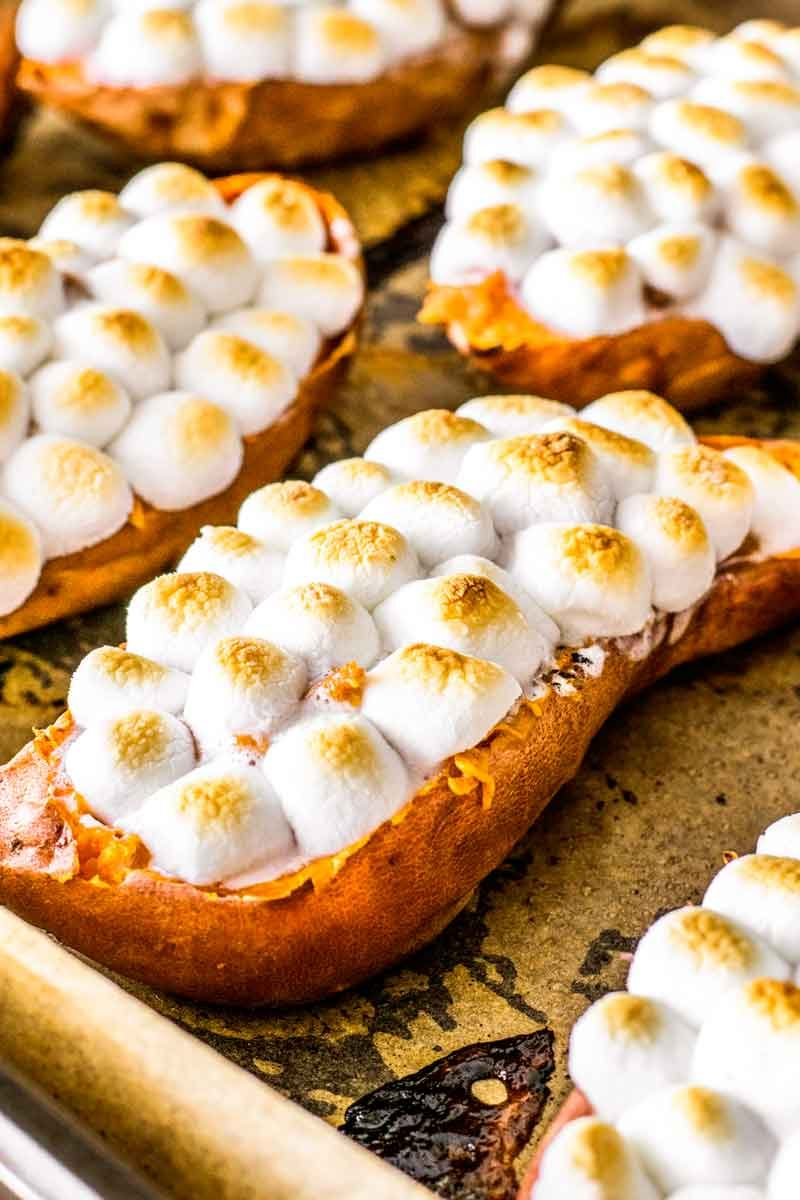 Twice baked candied yams with marshmallows.