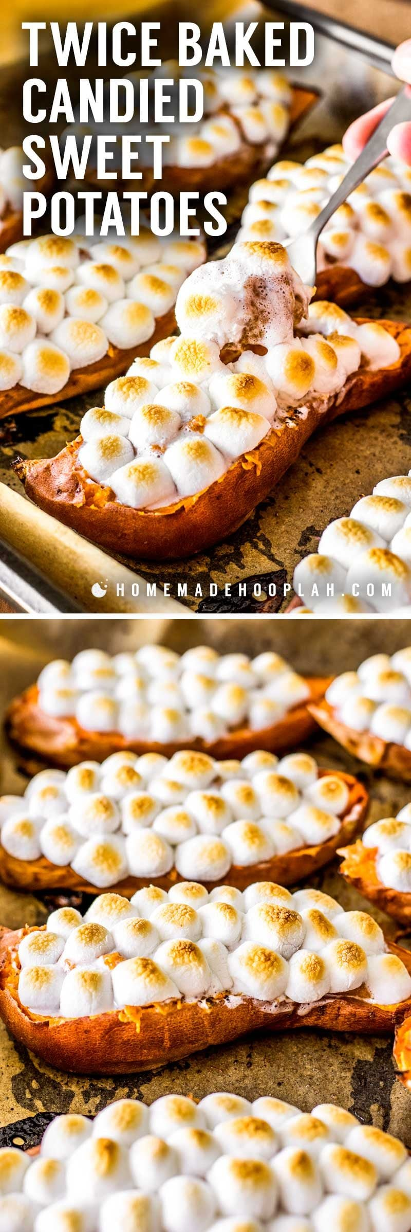 Twice baked sweet potatoes with marshmallow topping.
