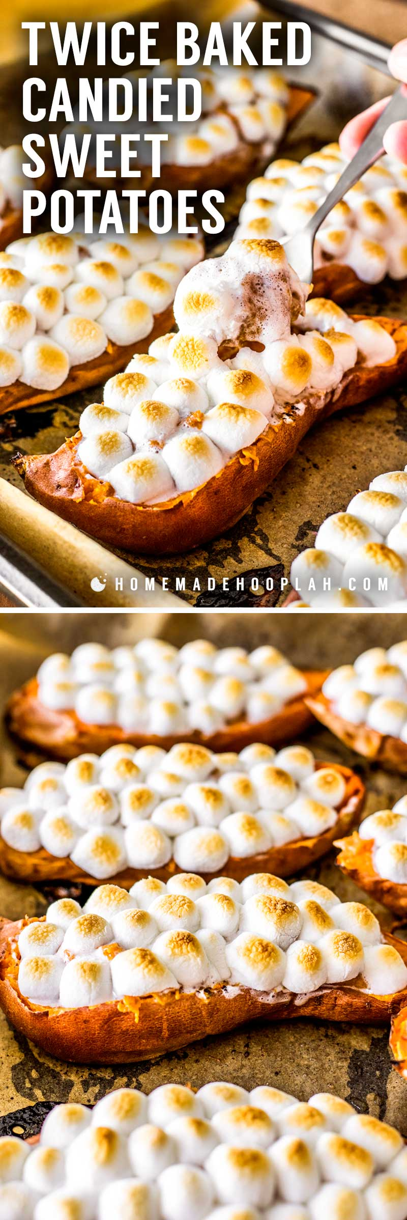 Twice Baked Candied Sweet Potatoes! Twice baked sweet potatoes sweetened with brown sugar, cinnamon, nutmeg, and ginger, then topped with mini marshmallows. Makes for great individual side dishes! | HomemadeHooplah.com