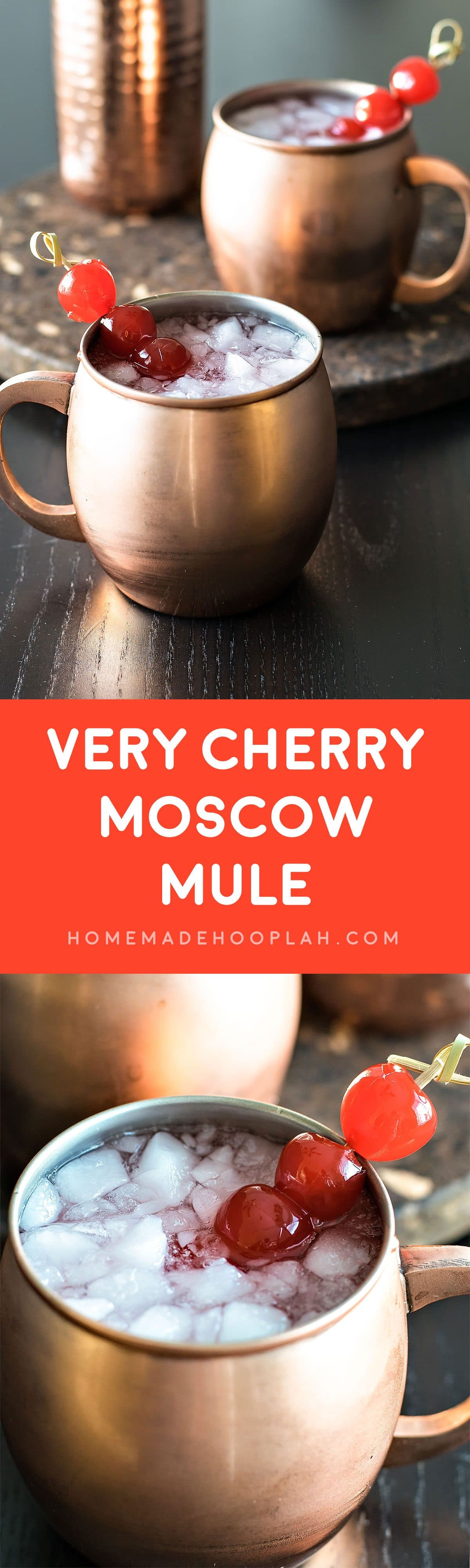 Very Cherry Moscow Mule! A fruity twist on a classic (and popular!) drink, this cherry moscow mule is made with cherry vodka and garnished with maraschino cherries.   HomemadeHooplah.com
