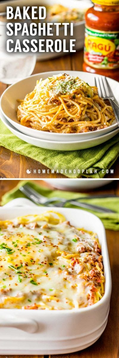 Baked Spaghetti Casserole! Revamp boring spaghetti by baking it in a deep dish filled with delicious cheeses, savory meats, and flavorful Ragú sauce. #sponsored   HomemadeHooplah.com
