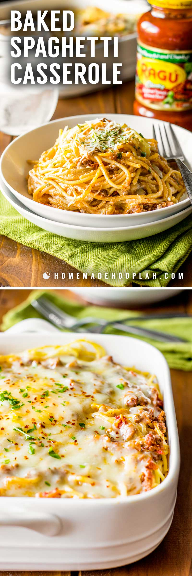 Baked Spaghetti Casserole! Revamp boring spaghetti by baking it in a deep dish filled with delicious cheeses, savory meats, and a flavorful red sauce. An easy weeknight dinner! | HomemadeHooplah.com