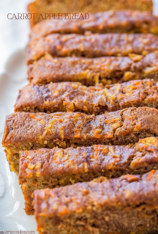 Carrot Apple Bread from Averie Cooks | 20 Sweet and Decadent Breads! Whether it's for breakfast, lunch, or dinner, these sweet and decadent dessert breads are just what you need! | HomemadeHooplah.com