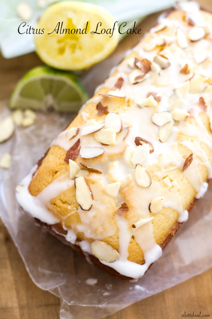 Citrus Almond Loaf Cake from A Latte Food | 20 Sweet and Decadent Breads! Whether it's for breakfast, lunch, or dinner, these sweet and decadent dessert breads are just what you need! | HomemadeHooplah.com