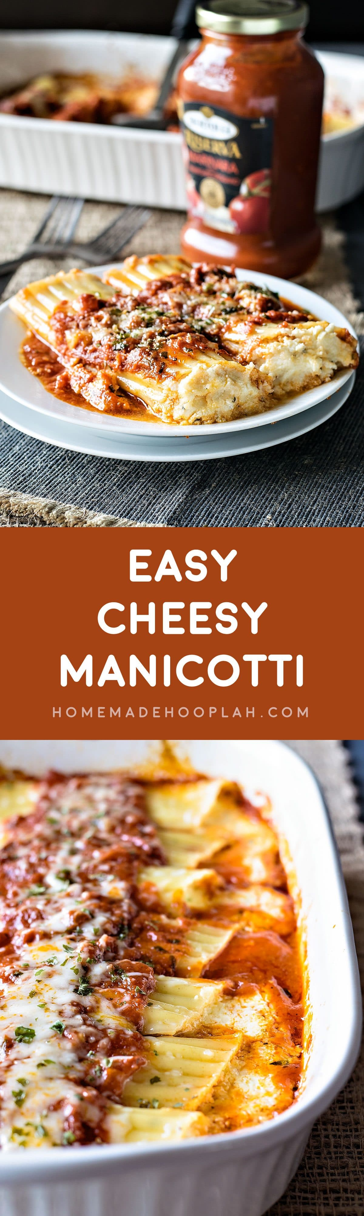 Easy Cheesy Manicotti! Bring a restaurant classic to your dinner table with this easy cheese manicotti recipe. Use Bertolli marinara sauce and cut your cook time in half! #sponsored| HomemadeHooplah.com