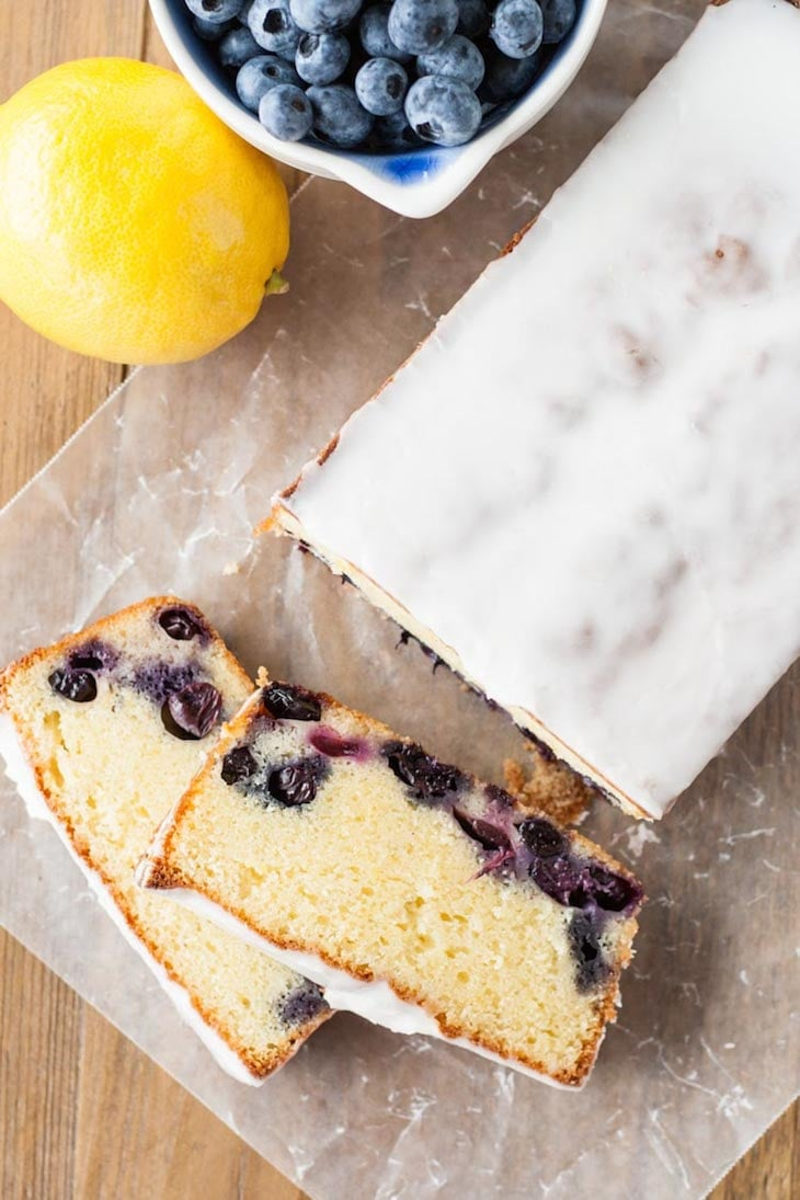 Lemon Blueberry Almond Loaf from Liv for Cake | 20 Sweet and Decadent Breads! Whether it's for breakfast, lunch, or dinner, these sweet and decadent dessert breads are just what you need! | HomemadeHooplah.com