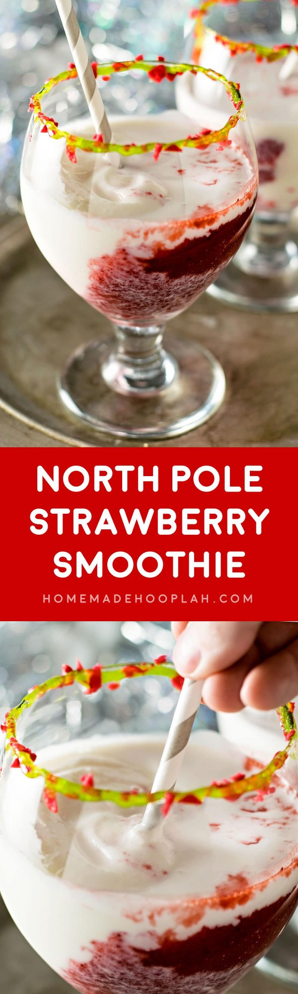 North Pole Strawberry Smoothie! Blended strawberries and frozen vanilla yogurt mix to create this festive holiday drink. Rim the glass with green decorating gel and sprinkle with crushed strawberry candy canes for an extra treat!   HomemadeHooplah.com