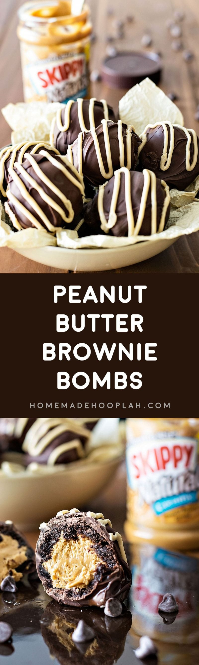 Peanut Butter Brownie Bombs! These peanut butter brownie bombs are perfect for all occasions! Rich brownies filled with peanut butter and covered with chocolate and peanut butter icing. | HomemadeHooplah.com