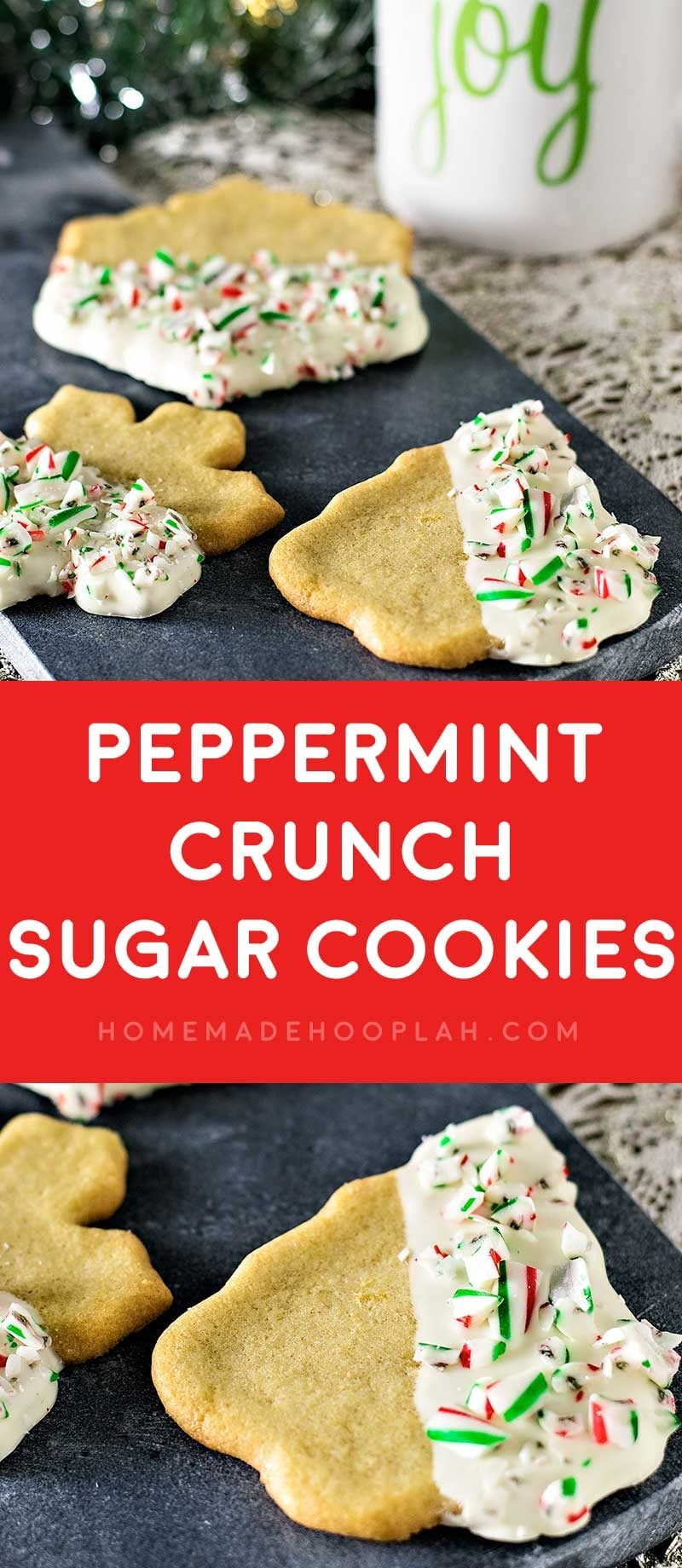 Peppermint Crunch Sugar Cookies! Festive sugar cookies with a twist: dipped in white chocolate and sprinkled with crushed candy canes. And they're only 4 ingredients to make! #NestleTollHouse #BakeSomeonesDay #HolidayRemix #ad | HomemadeHooplah.com