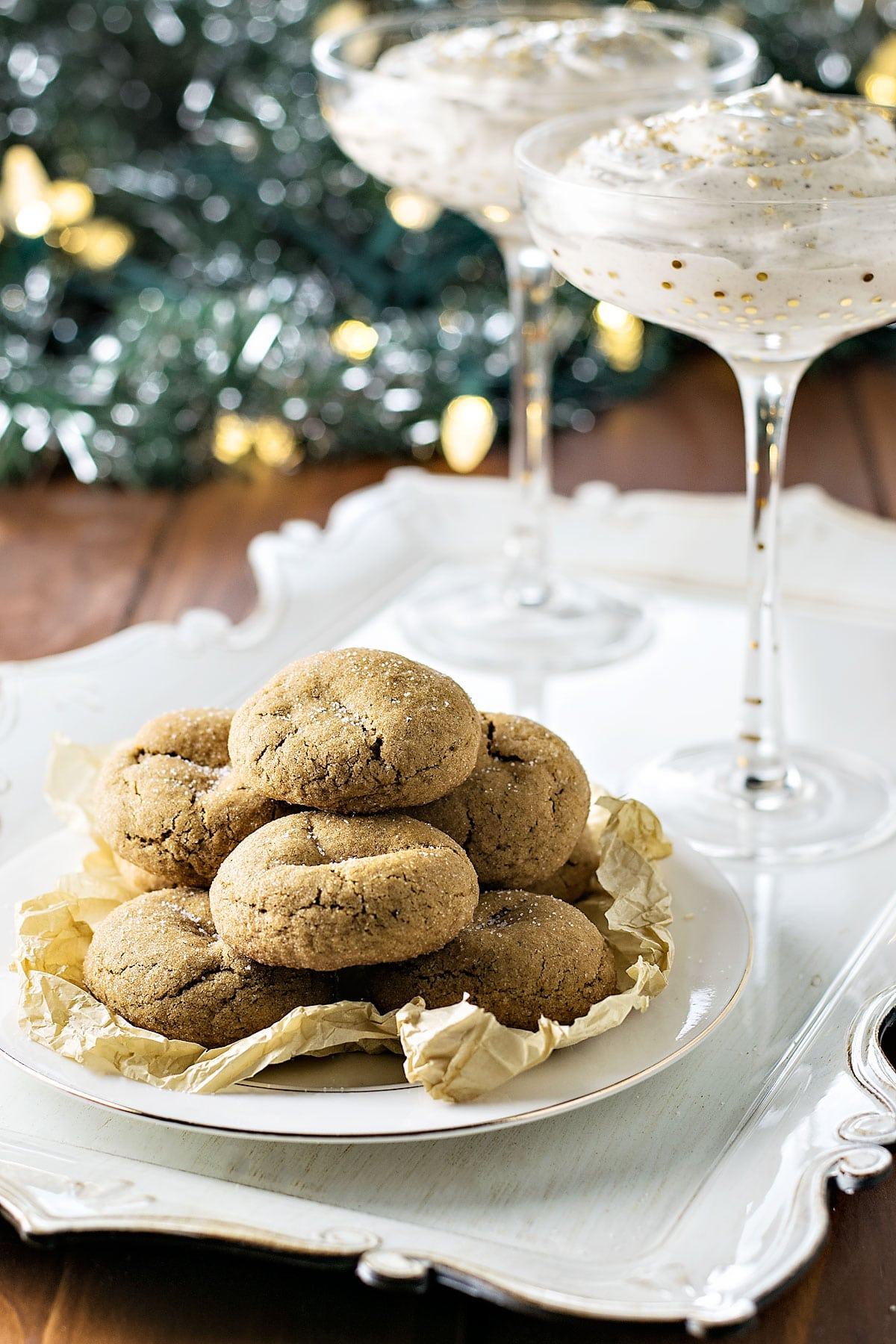 Skinny Ginger Cookies and Eggnog Dip! Need a festive treat to enjoy this holiday season without all the guilt? The ginger cookies are soft 'n chewy and the eggnog dip is creamy 'n sweet – all with fewer calories! #ZingBakingHoliday #ad | HomemadeHooplah.com