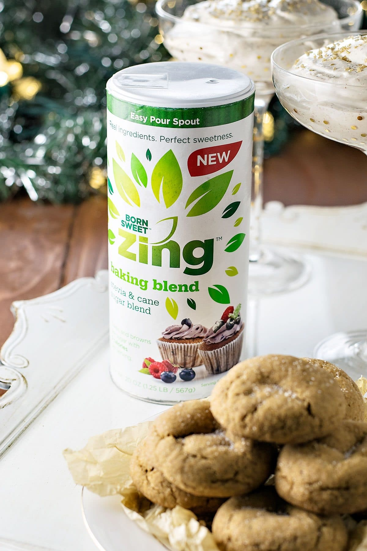 Skinny Ginger Cookies and Eggnog Dip! Need a festive treat to enjoy this holiday season without all the guilt? The ginger cookies are soft 'n chewy and the eggnog dip is creamy 'n sweet – all with fewer calories!   HomemadeHooplah.com #ZingBakingHoliday #ad
