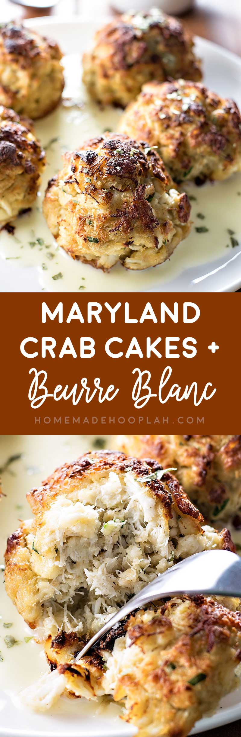 "Maryland Crab Cakes with Berrue Blanc! If you love the ""crab"" in Maryland style crab cakes, this recipe is for you: minimal breading and a light sauce makes the crab meat the star of this dish. 