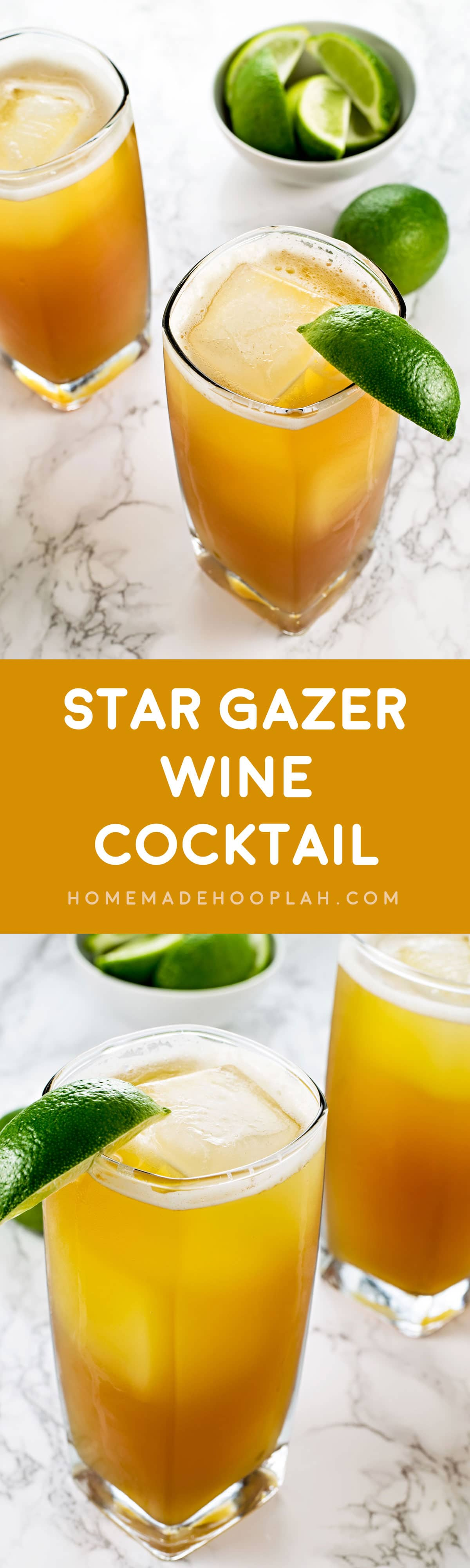 Star Gazer Wine Cocktail! A soft and sweet cocktail flavored with vanilla, pineapple, dark rum, and your choice of white wine. | HomemadeHooplah.com
