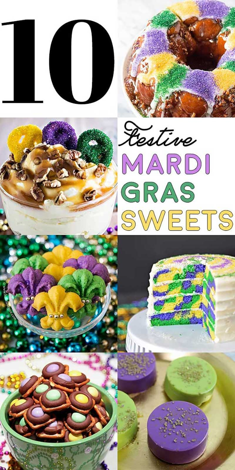 10 Festive Mardi Gras Sweets! A collection of 10 desserts that bring all the festive colors of Mardi Gras (purple, green, and yellow) that you can handle! | HomemadeHooplah.com