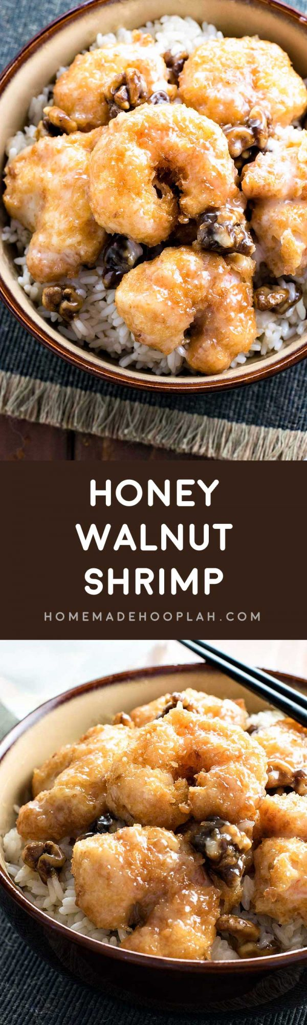 Honey Walnut Shrimp! Skip the takeout and make honey walnut shrimp at home. Light tempura, tender shrimp, candied walnuts, all covered in a sweetly tart sauce. | HomemadeHooplah.com