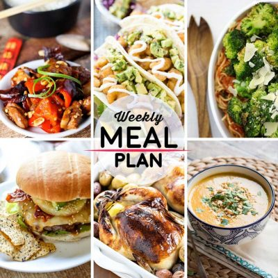 Weekly Meal Plan #2! A simple weekly meal plan to help you keep things tasty throughout the week, featuring kung pao chicken, fried shrimp tacos, hawaiian teriyaki burgers, and more! | HomemadeHooplah.com