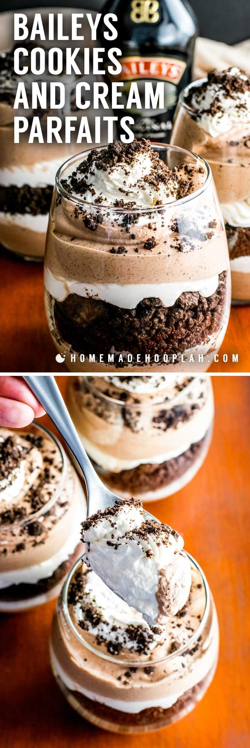 Baileys Cookies and Cream Parfaits! Layered chocolate and Baileys cream paired with crumbled Oreo cookies. This delicious Baileys parfait is the perfect weekend retreat! | HomemadeHooplah.com
