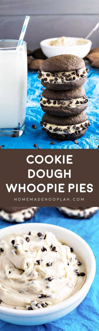 Cookie Dough Whoopie Pies! Creamy (and eggless!) cookie dough sandwiched between two chocolate cake cookies. A perfect indulgently sweet finger food! | HomemadeHooplah.com