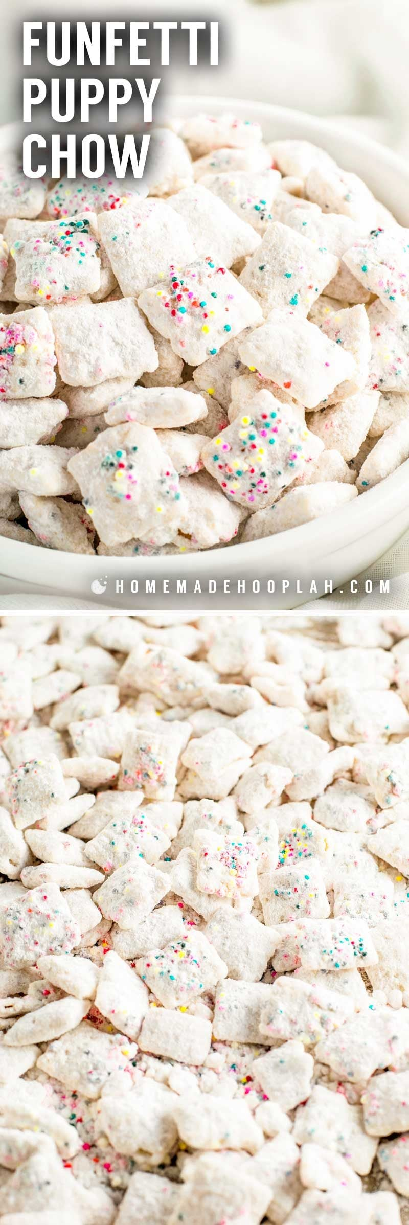 Funfetti Puppy Chow! This classic sweet snack gets a festive makeover with this funfetti puppy chow! Chex cereal is coated in white candy melts, colorful sprinkles, and dusted with a sweetened white cake mix. Perfect for snacking or gifting! | HomemadeHooplah.com