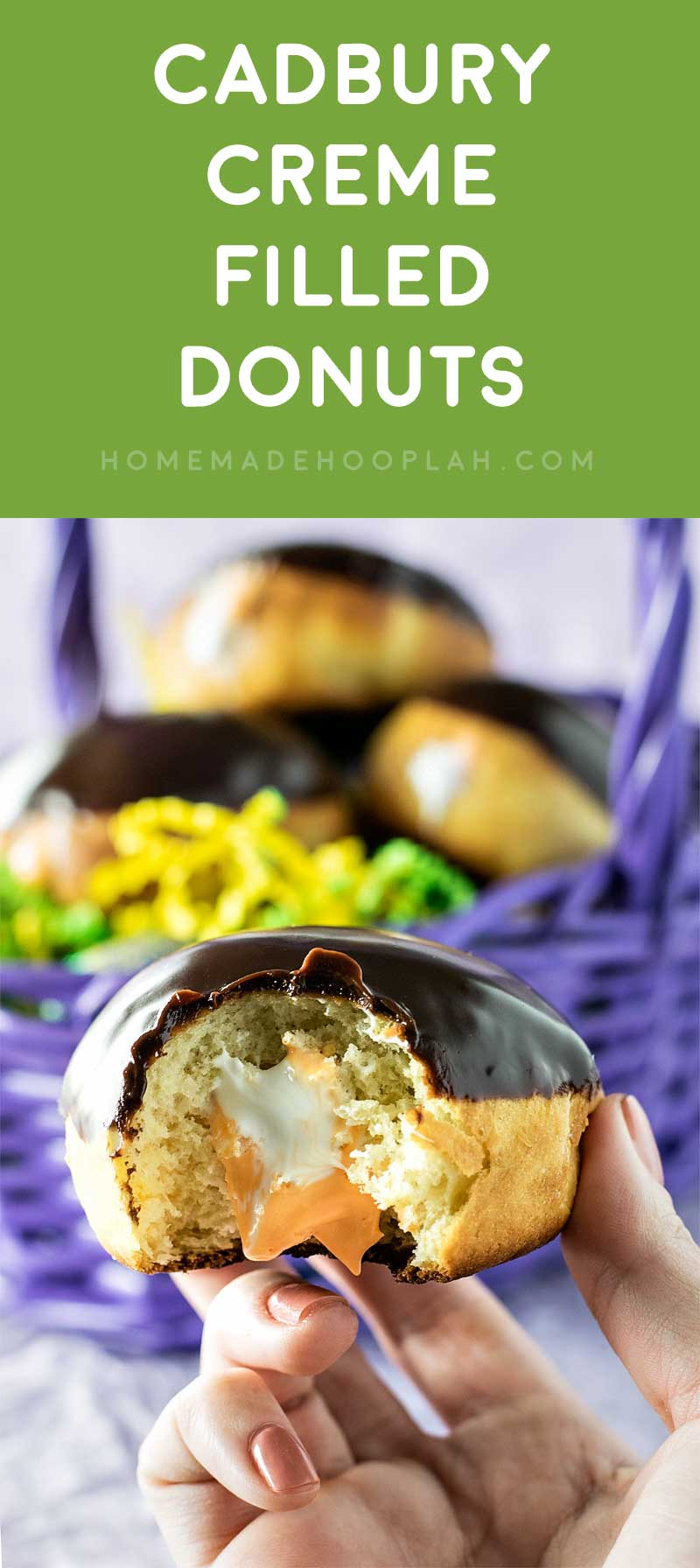 Cadbury Creme Filled Donuts! Everything you love about Cadbury Creme Eggs, but in donut form. Enjoy them year round with milk or dark chocolate glaze! | HomemadeHooplah.com