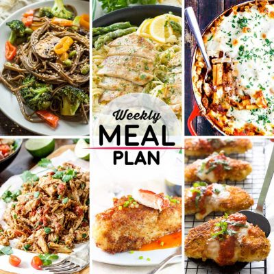 Weekly Meal Plan #3! A simple weekly meal plan to help you keep things tasty throughout the week, featuring soba noodle stir fry, lemon asparagus pasta with chicken, baked ziti with sausage, and more! | HomemadeHooplah.com