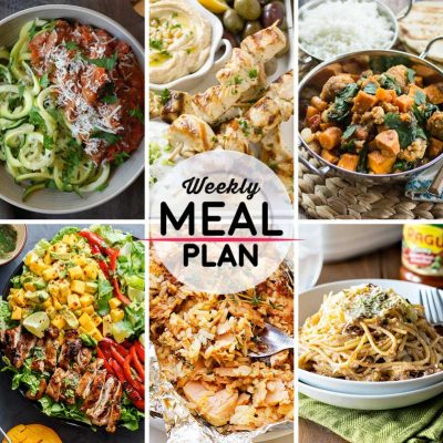 Weekly Meal Plan #4! A simple weekly meal plan to help you keep things tasty throughout the week, featuring slow cooker turkey bolognese, chicken green soulvaki, south indian sweet potato curry, and more! | HomemadeHooplah.com