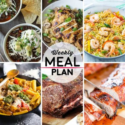 Weekly Meal Plan #5! A simple weekly meal plan to help you keep things tasty throughout the week, featuring black lentil chili, garlic ginger chicken with sesame noodles, shrimp cow mein, and more! | HomemadeHooplah.com