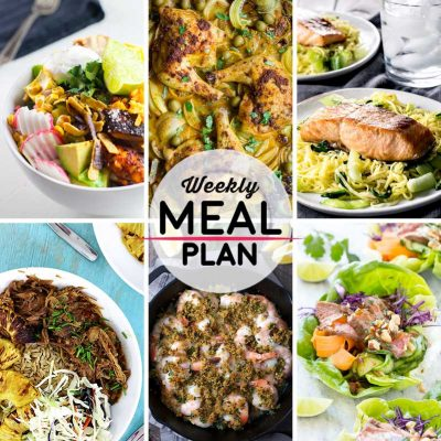 Weekly Meal Plan #6! A simple weekly meal plan to help you keep things tasty throughout the week, featuring loaded chipotle chicken salad, moroccan sheet pan chicken, teriyaki salmon with soba stir fry, and more! | HomemadeHooplah.com