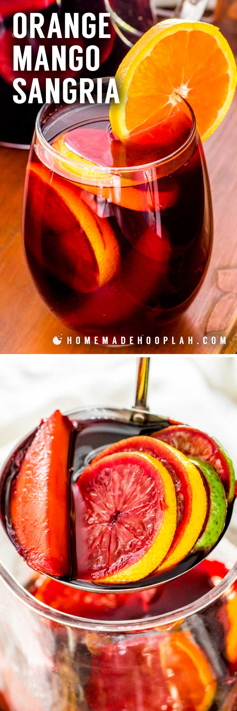 Orange Mango Sangria! Delicious orange mango sangria with sweet red wine infused with mango, orange, lemon, and lime, then spiked with a surprise shot of orange cointreau. | HomemadeHooplah.com