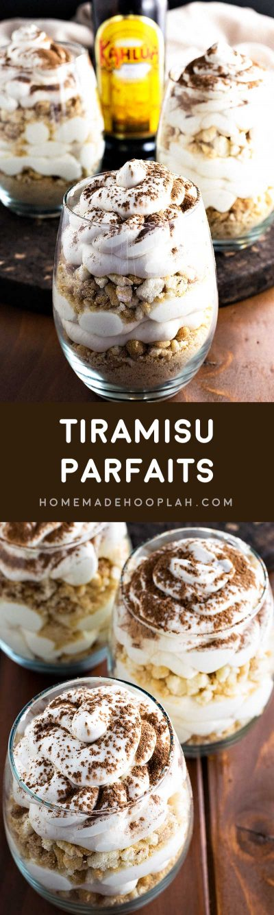 Tiramisu Parfaits! Get ready for summer with these tiramisu parfaits! Sweet mascarpone cheese spiked with Kahlua and layered with coffee syrup infused ladyfinger crumbles.