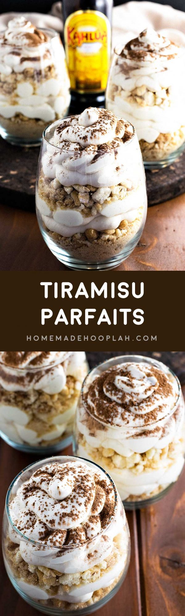 Tiramisu Parfaits! Get ready for summer with these tiramisu parfaits! Sweet mascarpone cheese spiked with Kahlua and layered with coffee syrup infused ladyfinger crumbles. | HomemadeHooplah.com