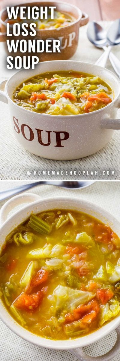 Weight Loss Wonder Soup! No matter what diet you're on, this flavorful wonder soup is perfect for a quick snack or even makes for an easy meal that will leave you feeling full. | HomemadeHooplah.com