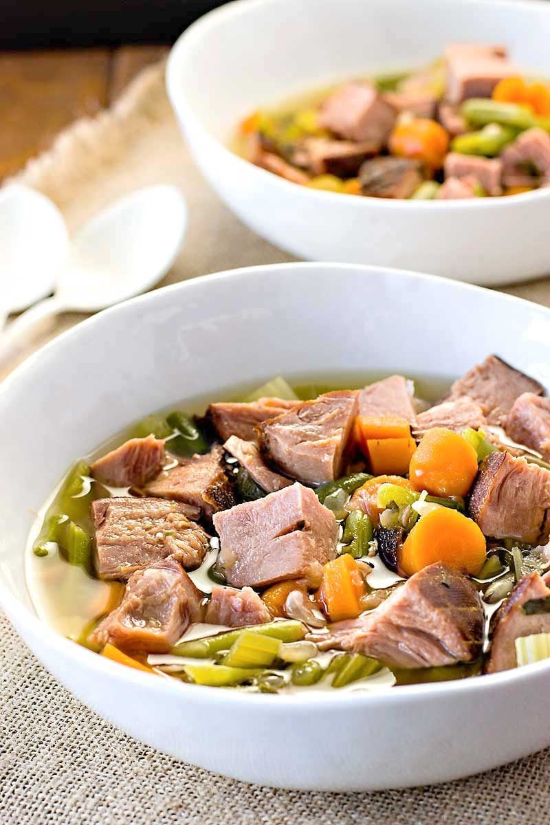 Crock Pot Ham and Vegetable Soup! Looking for a crock pot soup that still tastes gourmet? This ham and vegetable soup is an easy and flavorful dinner for any night of the week.   HomemadeHooplah.com