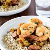 Easy Shrimp Jambalaya! An easy jambalaya recipe with shrimp, sausage, green peppers, onion, and Minute Ready to Serve Brown Rice that comes together in just 20 minutes!   HomemadeHooplah.com MixInMinute AD