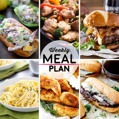 Weekly Meal Plan #10! A meal plan to help you keep things tasty each week, featuring lobster mango avocado salad, easy pork stir fry, whisky glazed blue cheese burgers, and more! | HomemadeHooplah.com